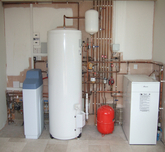 Harvey water softener  with unvented hot water and floor standing boiler.