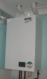 Keston system boiler installation with 15 ft flue run.