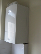 Worcester combination boiler installation in a kitchen.