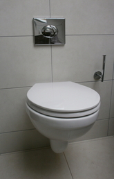 Wall hung toilet installation.