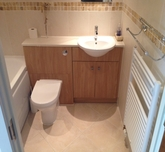 Bathroom refit with built units.