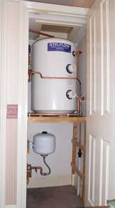 Stem-flow unvented cylinder install.