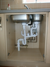Kitchen sink plumbing.